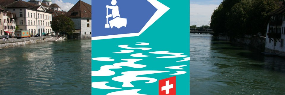 Aare Solothurn mit Logo Kanuland