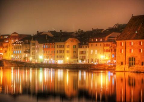 Solothurn Aarequai Nacht Sicht von Aare 2